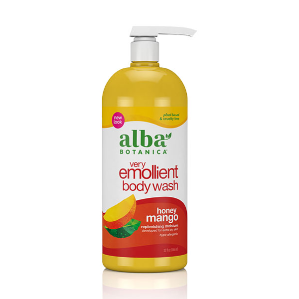 Alba Botanica Very Emollient, Honey Mango Bath & Shower Gel, 32 Ounce