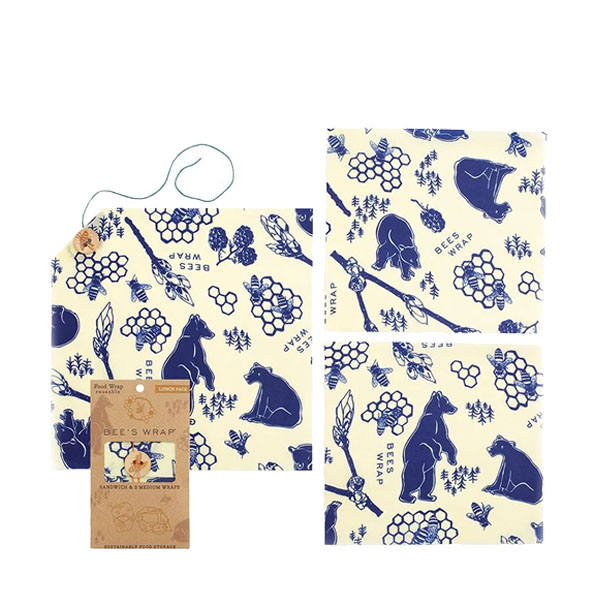 Bees Wrap 3 Pack Assorted Reusable Beeswax Food Wraps in Bees and Bears