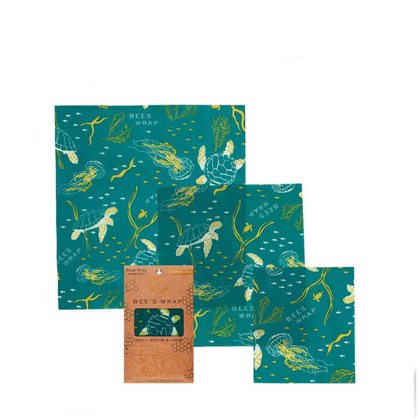 Bees Wrap 3 Pack Assorted Reusable Beeswax Food Wraps in Ocean Print