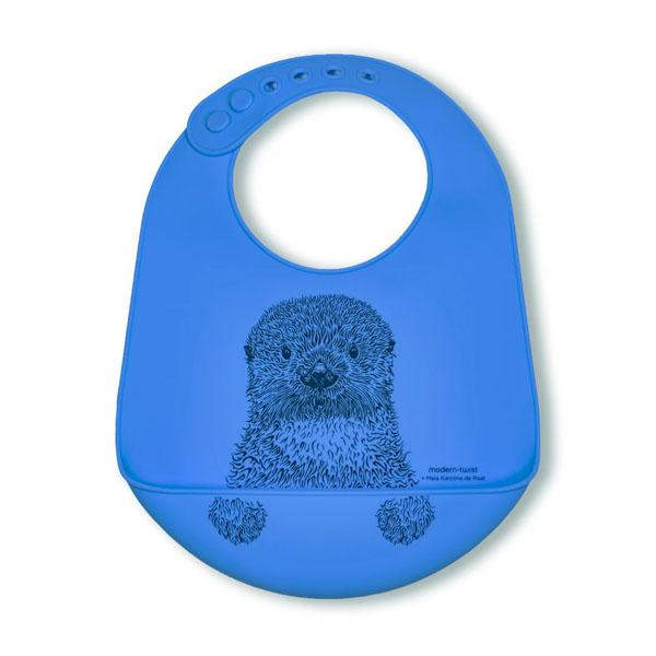 Modern Twist Blue Otter Silicone Baby Bucket Bib